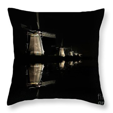 Lighted Windmills In The Black Night Throw Pillow