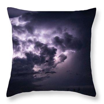 Lightening At Night Throw Pillow
