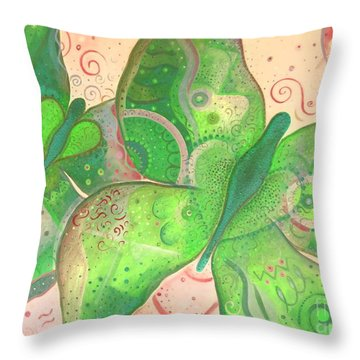 Lighthearted In Green On Red Throw Pillow