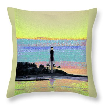Luminous Florida Yellow At Hillsboro Lighthouse Throw Pillow