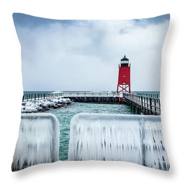 Lighthouse And Ice Throw Pillow
