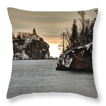 Lighthouse And Island At Dawn Throw Pillow