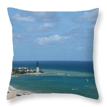 Lighthouse And Kiteboarding Throw Pillow