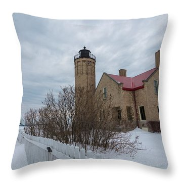 Throw Pillow featuring the photograph Lighthouse And Mackinac Bridge Winter by John McGraw