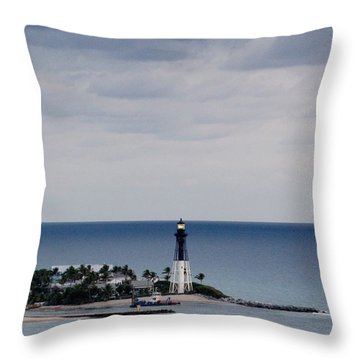 Lighthouse And Rain Clouds Throw Pillow