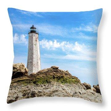 Lighthouse And Rocks Throw Pillow