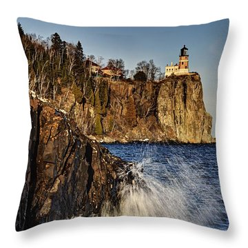 Throw Pillow featuring the photograph Lighthouse And Spray by Larry Ricker