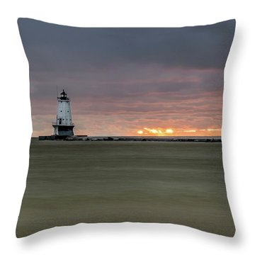 Lighthouse And Sunset Throw Pillow