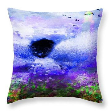Lighthouse Angel Purple In Hotty Totty Style Throw Pillow