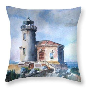 Lighthouse At Bandon Throw Pillow