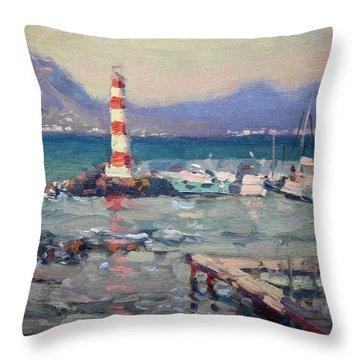 Lighthouse At Dilesi Harbor Greece Throw Pillow