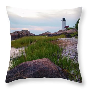 Lighthouse At Dusk Throw Pillow