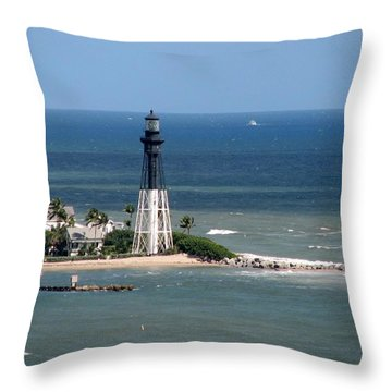 Lighthouse At Hillsboro Beach, Florida Throw Pillow