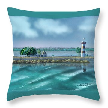 Lighthouse At Lake Conroe Throw Pillow