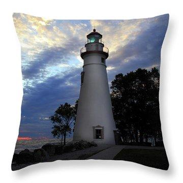 Lighthouse At Sunrise Throw Pillow