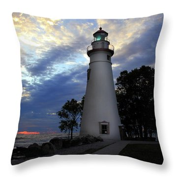 Lighthouse At Sunrise Throw Pillow