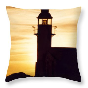 Lighthouse At Sunset Throw Pillow by Mary Mikawoz