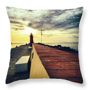 Throw Pillow featuring the photograph Lighthouse At Sunset by Silvia Ganora