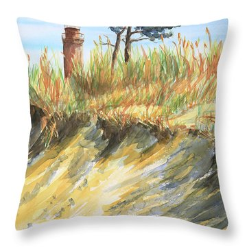Lighthouse At The Beach Throw Pillow
