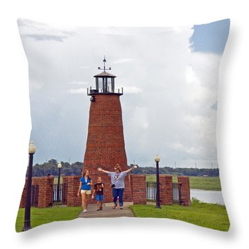 Lighthouse At The Port Of Kissimmee On Lake Tohopekaliga In Central Florida Throw Pillow by Allan  Hughes