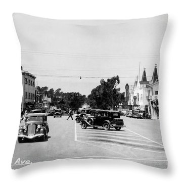 Lighthouse Avenue Downtown Pacific Grove, Calif. 1935  Throw Pillow