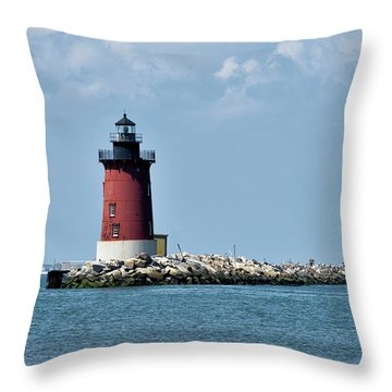 Throw Pillow featuring the photograph Delaware Breakwater East End Lighthouse - Lewes Delaware by Brendan Reals