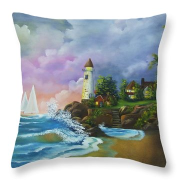 Lighthouse By The Village Throw Pillow