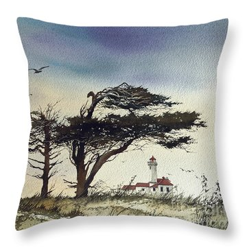 Throw Pillow featuring the painting Lighthouse Coast by James Williamson