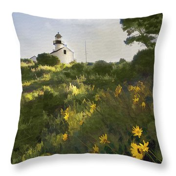 Lighthouse Daisies Throw Pillow by Sharon Foster