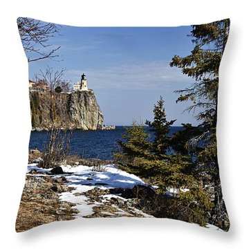 Throw Pillow featuring the photograph Lighthouse Framed by Larry Ricker