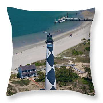 Lighthouse From Above Throw Pillow by Betsy Knapp