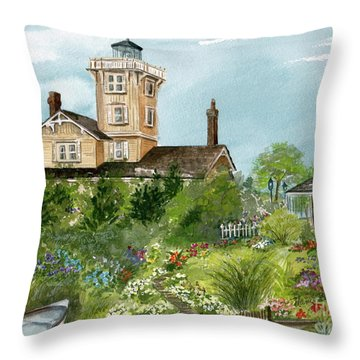 Throw Pillow featuring the painting Lighthouse Gardens  by Nancy Patterson
