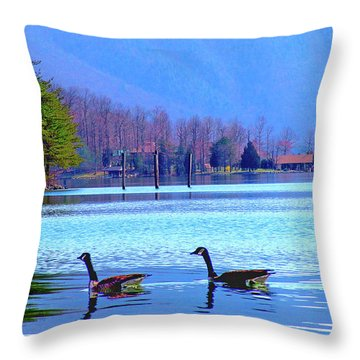 Lighthouse Geese, Smith Mountain Lake Throw Pillow