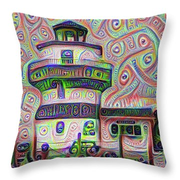 Lighthouse Ice Cream Shop - Wildwood Crest Throw Pillow by Bill Cannon