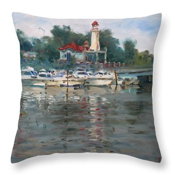 Lighthouse In Lake Shore Mississauga Throw Pillow