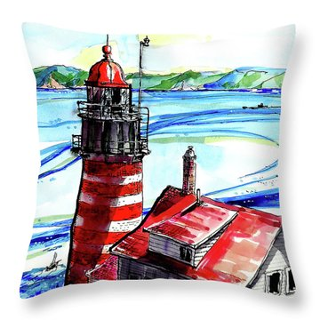 Throw Pillow featuring the painting Lighthouse In Maine by Terry Banderas