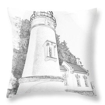 Lighthouse In Oregon Throw Pillow