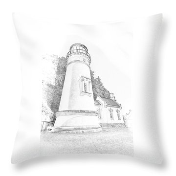 Lighthouse In Oregon Throw Pillow