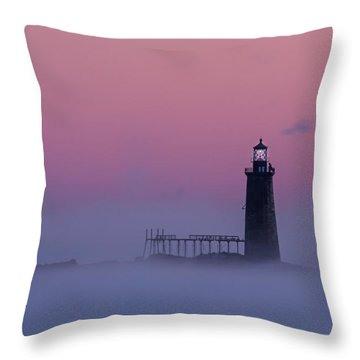 Lighthouse In The Clouds Throw Pillow