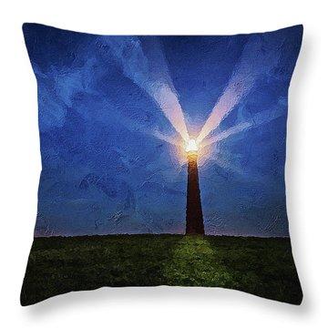 Throw Pillow featuring the digital art Lighthouse In The Dusk by PixBreak Art