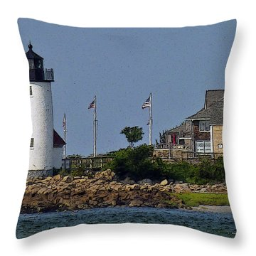 Lighthouse In The Ipswich Bay Throw Pillow