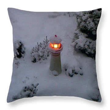 Throw Pillow featuring the photograph Lighthouse In The Snow by Kathryn Meyer