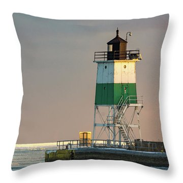 Lighthouse In The Sunset Throw Pillow