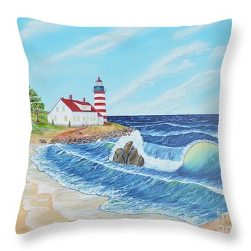 Throw Pillow featuring the painting Lighthouse Life by Mary Scott
