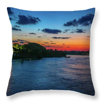 Throw Pillow featuring the photograph Lighthouse Light Beam by Tom Claud