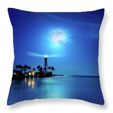 Lighthouse Moon Throw Pillow by Mark Andrew Thomas