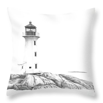 Lighthouse Of Peggy's Cove Throw Pillow by Patricia Hiltz
