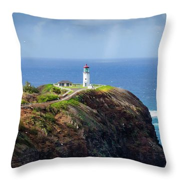 Lighthouse On A Cliff Throw Pillow
