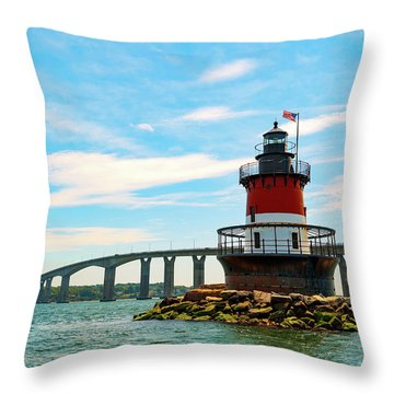 Lighthouse On A Small Island Throw Pillow