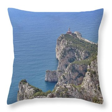 Lighthouse On The Cliff Throw Pillow